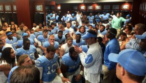 Fedora addresses his team after the game. (UNC Athletics)