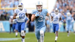 Ryan Switzer breaks away for his game-changing touchdown. (UNC Athletics)