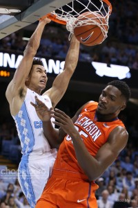 Marcus Paige slams home just the third dunk of his college career. (Todd Melet)