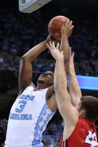 UNC dominated Davidson on the glass, winning the rebounding battle 51-32. (Todd Melet)