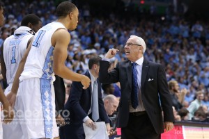 Roy Williams giving Brice Johnson some tough love. Johnson scored just six points on Saturday. (Todd Melet)