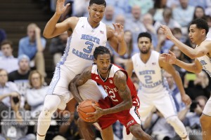 The UNC defense held the ACC's leading scorer, Cat Barber (12) to just nine points. (Todd Melet)