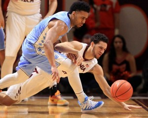 Joel Berry scored 13 points, and was one of only two Tar Heels in double figures against Virginia Tech. (AP Photo/ Matt Gentry)