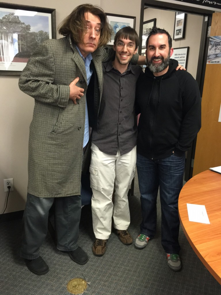 Emo Philips and Zach Ward with Aaron Keck at WCHL studios.
