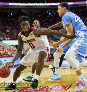 Jackson playing defense here on NC State forward Abdul Malik-Abu. (Smith Cameron Photography)