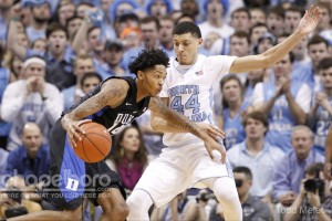 Duke's Brandon Ingram drives on UNC's Justin Jackson during the first matchup between the teams this season. (Todd Melet)