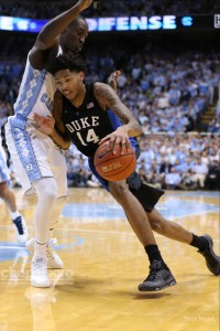 Wiry freshman Brandon Ingram put together his own double-double--finishing with 20 points and 10 rebounds for Duke.