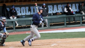 Freshman Brandon Riley went 2-for-4 on Friday with 2 RBIs in his first college game. (Joe Bray/UNC Athletics)