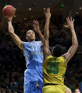 Brice Johnson had 14 points and 14 rebounds, but it was not enough to hold off Notre Dame. (AP Photo/ Robert Frankling)