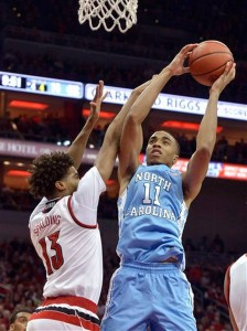 Brice Johnson scored 15 points, but was held to just six attempts by the Louisville defense. (AP Photo/ Timothy D. Easley)