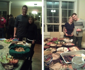 Friends enjoying the food, football and fellowship at a Super Bowl soiree.