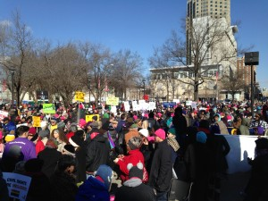 The crowd gathers before the march begins