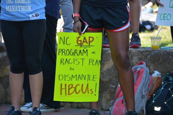 UNC students and faculty protesting Margaret Spellings. Photo via Blake Hodge.