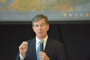 Roy Cooper speaking to students at Woods Charter School. Photo via Blake Hodge.