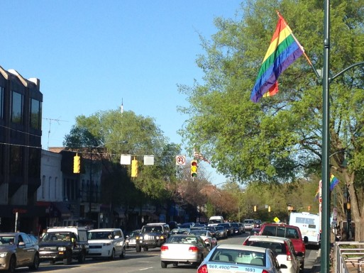 Rainbow Flags lined Franklin Street on Tuesday. (Chris Grunert)