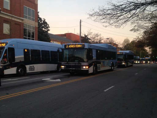 Buses backed up on Columbia Street (Chris Grunert)