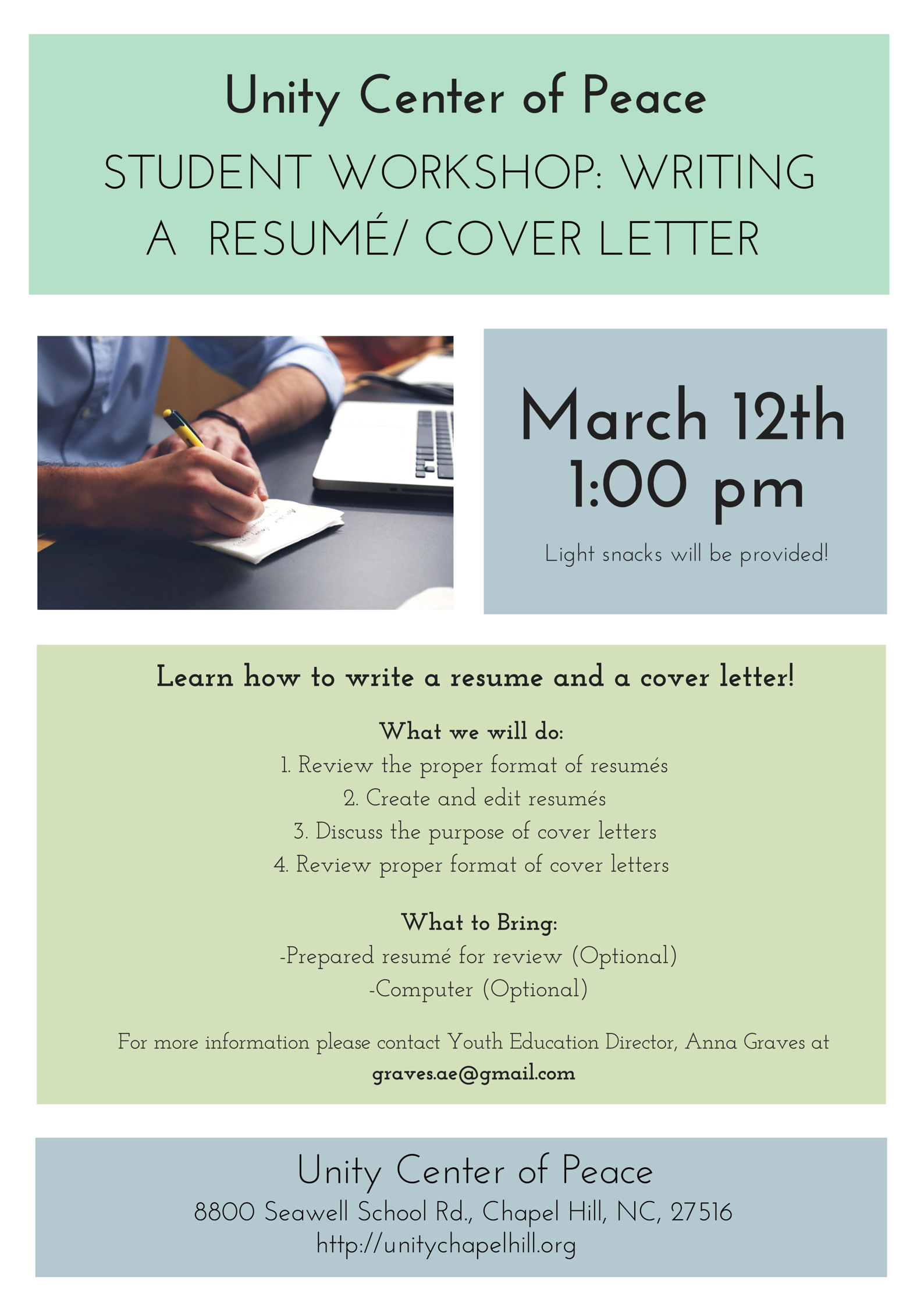 student workshop writing a resum cover letter chapelborocom