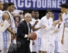 UNC head coach Roy Williams with ball and big lead