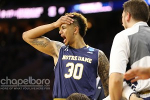 Notre Dame big man Zach Auguste was limited to just five points thanks to foul trouble. (Todd Melet)