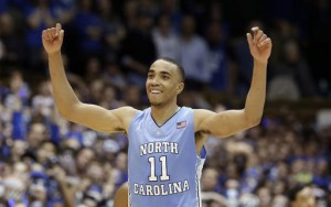 Brice Johnson reacts following North Carolina's 76-72 win over Duke. (AP Photo/Gerry Broome)