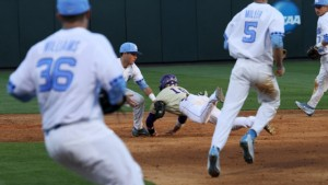 A pair of difficult fielding plays provided the difference for the Yellow Jackets in the fifth inning. (Joe Bray/ UNC Athletics)