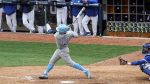 Tyler Ramirez homered and drove in three runs, giving him eight RBIs over the weekend. (Joe Bray/ UNC Athletics)