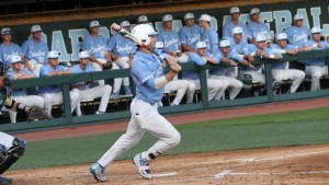 Brandon Riley put UNC ahead 1-0 early, but the Tar Heels fell to 14-1 in games where they score in the first inning. (Joe Bray/ UNC Athletics)