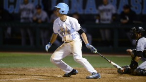 Cody Roberts tried to kick-start a UNC rally in the eighth, but allowed a passed ball that led to a Miami run later in the inning. (Jeffrey A. Camarati/ UNC Athletics)