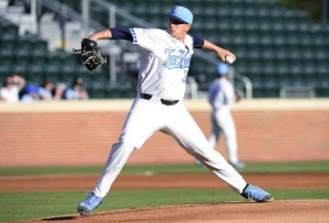 Hunter Williams struggled on the mound against High Point, but the UNC bullpen held strong. (Jeffrey A. Camarati/ UNC Athletics)