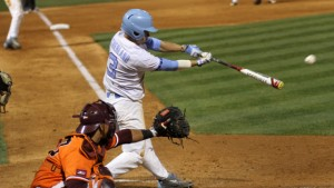 Eli Sutherland hit his fifth home run of the season in the eighth inning Wednesday against UNC-Wilmington, but the Tar Heels came up short. (Joe Bray/ UNC Athletics)