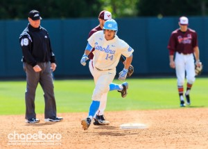 Tyler Ramirez had 3 RBIs on Sunday, but the Tar Heels lost for the first time this season when scoring more than six runs. (Smith Cameron Photography)