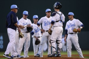 The Tar Heels used six pitchers to get through Sunday's loss. (Jeffrey A. Camarati/ UNC Athletics)