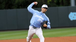 Zac Gallen was hit by Virginia for five runs in the first three innings on Friday. (Joe Bray/ UNC Athletics)