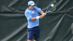 Jack Murray clinched the match for UNC with his 6-3, 6-0 win over Zack Lewis. (Jeffrey A. Camarati/ UNC Athletics)