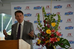 Governor Pat McCrory speaking at Morinaga Grand Opening. Photo via Blake Hodge.