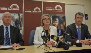 Left to right: Lou Bissette, Margaret Spelling and Thomas Shanahan speak to reporters. Photo via Blake Hodge.