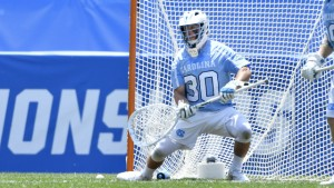 Brian Balkam made the save of his life to keep UNC alive in the extra period. He finished with 13 saves in the game. (Jeffrey A. Camarati/ UNC Athletics)