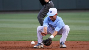 Eli Sutherland and the rest of the UNC infield was kept busy against Notre Dame, as the Fighting Irish struggled to find holes. (Joe Bray/ UNC Athletics)