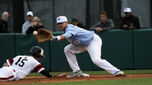 Zack Gahagan was part of a four-man wrecking crew for the UNC offense against NC State on Friday--going 2-for-4 with three RBIs. (Joe Bray/ UNC Athletics)
