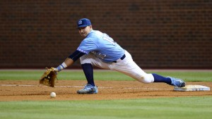 Zack Gahagan drove in two runs on Monday, while also making a number of terrific defensive plays. (Jeffrey A. Camarati/ UNC Athletics)