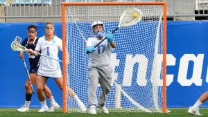 Senior goalie Megan Ward made a career-high 14 saves in the National Championship Game. This after being benched in UNC's semifinal win over Penn State. (Jeffrey A. Camarati/ UNC Athletics)