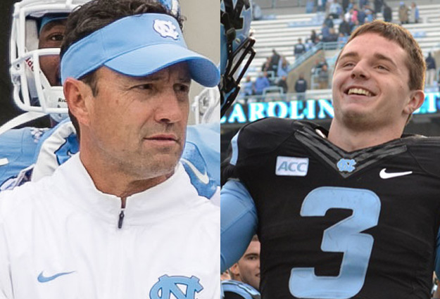 Larry Fedora and Ryan Switzer Have Fun at the ACC Kickoff