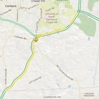 Traffic delay map via NCDOT.