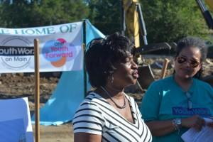 State Senator Valerie Foushee speaking at groundbreaking. Photo via Blake Hodge.