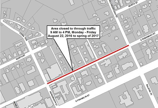 OWASA Pipe Replacement Closing Portion of East Rosemary Street