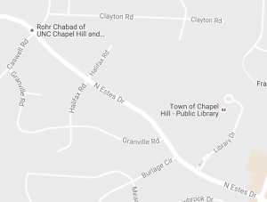 Estes Drive is closed between Library Drive and Caswell Road. Photo via Google.
