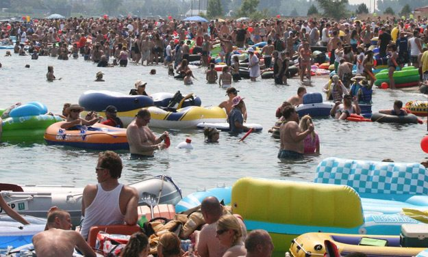 Wind Blows Rafts to Canada