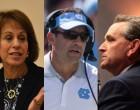 UNC Chancellor Carol Folt, UNC Head Football Coach Larry Fedora, UNC AD Bubba Cunningham