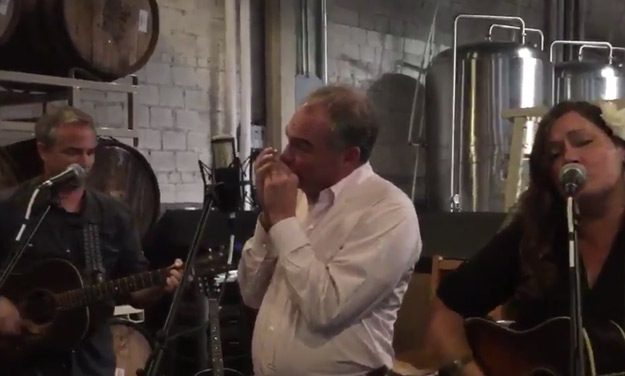 Tim Kaine Plays 'Wagon Wheel' in Asheville