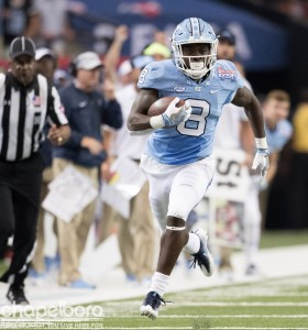Senior tailback TJ Logan is among a number of Tar Heel players who have come out and supported Artis since the news broke Tuesday. (Smith Cameron Photography)